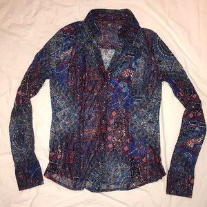 Stretch lace printed paisley shirt snap closures